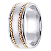 8mm Satin Center Yellow Rope Hand-Woven Wedding Ring - 14K Two-Tone Gold thumb 2