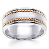 8mm Satin Center Yellow Rope Hand-Woven Wedding Ring - 14K Two-Tone Gold thumb 0
