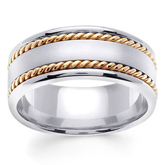 8mm Satin Center Yellow Rope Hand-Woven Wedding Ring - 14K Two-Tone Gold