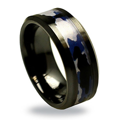 8mm Black Ceramic Blue Gray Camo Wedding Ring