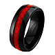 Dome Ceramic Wedding Band Ring with Red Carbon Fiber Inlay 8mm - Men thumb 1
