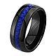 Dome Ceramic Wedding Band Ring with Blue Carbon Fiber Inlay 8mm - Men thumb 1
