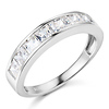 8-Stone Channel Princess CZ Wedding Band in 14K White Gold 1.3ctw thumb 0