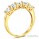 5-Stone Trellis Prong-Set Round CZ Wedding Band in 14K Yellow Gold thumb 1