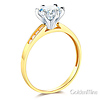 Cathedral-Set Round-Cut CZ Engagement Ring in Two-Tone 14K Yellow Gold thumb 1