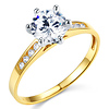 Cathedral-Set Round-Cut CZ Engagement Ring in Two-Tone 14K Yellow Gold thumb 0