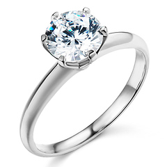 Knife-Edge 6-Prong 1-CT Round-Cut CZ Engagement Ring Solitaire in 14K White Gold