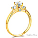 3-Stone Knife-Edge Cathedral Round-Cut CZ Engagement Ring in 14K Yellow Gold thumb 1