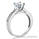 1-CT Round Cathedral CZ Engagement Ring & Pave Stones in 14K White Gold thumb 1