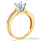 Cathedral-Set 1-CT Round-Cut CZ Engagement Ring in Two-Tone 14K Yellow Gold thumb 1
