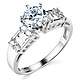 1.25 CT Round-Cut & Baguette CZ Wedding Ring Set in 14K White Gold 2ctw thumb 1
