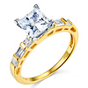 1.25 CT Princess-Cut & Side Baguette CZ Wedding Ring Set in 14K Yellow Gold thumb 1