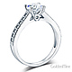 Milgrain 1-CT Round-Cut CZ Engagement Ring Set & Pave Stones in 14K White Gold thumb 2