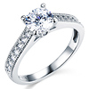 Milgrain 1-CT Round-Cut CZ Engagement Ring Set & Pave Stones in 14K White Gold thumb 1