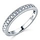 Milgrain 1-CT Round-Cut CZ Engagement Ring Set & Pave Stones in 14K White Gold thumb 4