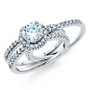 Split Shank Halo Round-Cut CZ Engagement Ring Set in 14K White Gold thumb 3