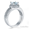 Split Shank Halo Round-Cut CZ Engagement Ring Set in 14K White Gold thumb 1