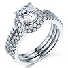 Split Shank Halo Round-Cut CZ Engagement Ring Set in 14K White Gold thumb 0