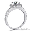 Squared Halo Baguette & Round-Cut CZ Wedding Ring Set in 14K White Gold thumb 2