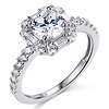 Squared Halo Baguette & Round-Cut CZ Wedding Ring Set in 14K White Gold thumb 1