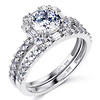 Squared Halo Baguette & Round-Cut CZ Wedding Ring Set in 14K White Gold thumb 0