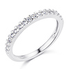 Squared Halo Baguette & Round-Cut CZ Wedding Ring Set in 14K White Gold thumb 4