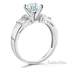 1-CT Round & Side Princess Baguette CZ Engagement Ring in 14K White Gold thumb 1