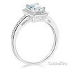 Halo 1-CT Radiant-Cut CZ Engagement Ring with Side Pave in 14K White Gold thumb 1