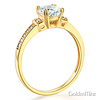 1-CT Round-Cut CZ Engagement Ring & Pave Side Stones in 14K Yellow Gold thumb 1