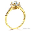 Halo 1-CT Round-Cut Cubic Zirconia Engagement Ring in 14K Yellow Gold thumb 1