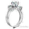 Baguette & 1-CT Round-Cut CZ Engagement Ring Set in 14K White Gold thumb 1