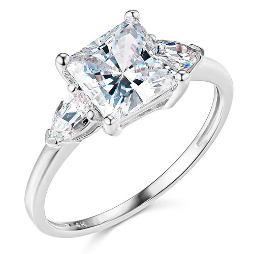 3 Stone Pear 1 75 Ct Princess Cut Cz Engagement Ring In 14k White Gold Goldenmine Com