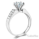 2-Row Side Pave & 1-CT Round-Cut CZ Engagement Ring in 14K White Gold thumb 1