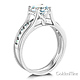 Split Shank 1-CT Round-Cut Solitaire CZ Wedding Ring Set in 14K White Gold thumb 1