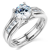 Split Shank 1-CT Round-Cut Solitaire CZ Wedding Ring Set in 14K White Gold thumb 0