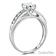 Cathedral Trellis-Set 1-CT Round-Cut CZ Engagement Ring in 14K White Gold thumb 1