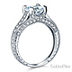 Art Deco Engraved 1-CT Round-Cut CZ Engagement Ring in 14K White Gold thumb 1