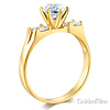 1-CT Round-Cut & 2-Row Baguette CZ Engagement Ring in 14K Yellow Gold thumb 1