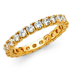 2.5mm Scalloped Prong CZ Eternity Ring in 14K Yellow Gold