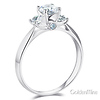 Knife-Edge Trellis 3-Stone Round CZ Engagement Ring in Sterling Silver (Rhodium) thumb 1