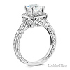 Antique-Style 1-CT Princess-Cut Halo CZ Engagement Ring in Sterling Silver (Rhodium) thumb 1