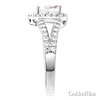 Split Shank Heart-Cut Halo CZ Engagement Ring in Sterling Silver (Rhodium) thumb 2