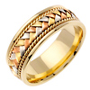 8.5mm Handmade Rope & Tricolor Braided Men's Wedding Band - 14K Yellow Gold thumb 1