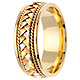 8.5mm Handmade Rope & Tricolor Braided Men's Wedding Band - 14K Yellow Gold thumb 2