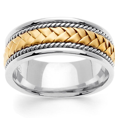8.5mm Handmade Woven Cord Yellow Braided Men's Wedding Ring - 14K Two-Tone Gold