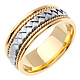 8.5mm Handmade Cord & White Woven Men's Wedding Band - 14K Two-Tone Gold thumb 1