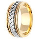 8.5mm Handmade Cord & White Woven Men's Wedding Band - 14K Two-Tone Gold thumb 2